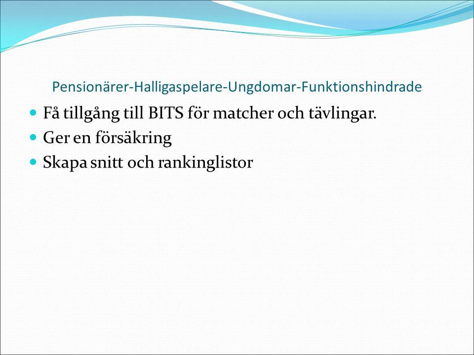 Pensionärer-Halligaspelare-Ungdomar-Funktionshindrade Få tillgång till BITS för matcher och tävlingar.