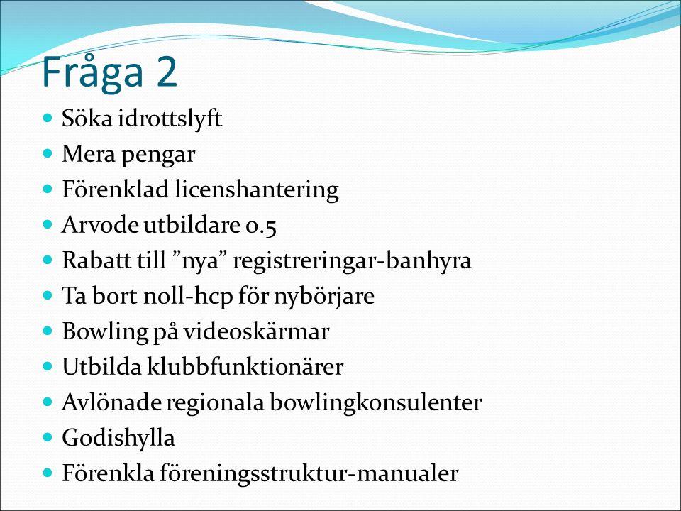 Fråga 2 Söka idrottslyft Mera pengar Förenklad licenshantering Arvode utbildare 0.5 Rabatt till nya registreringar-banhyra Ta bort noll-hcp för nybörjare Bowling på videoskärmar Utbilda klubbfunktionärer Avlönade regionala bowlingkonsulenter Godishylla Förenkla föreningsstruktur-manualer