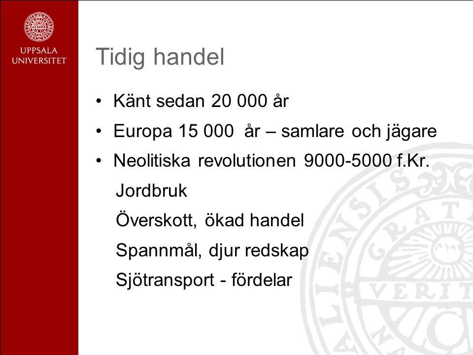 Tidig handel Känt sedan 20 000 år Europa 15 000 år – samlare och jägare Neolitiska revolutionen 9000-5000 f.Kr.