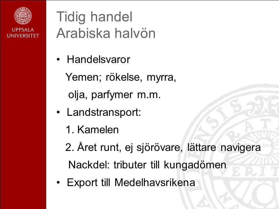 Tidig handel Islams betydelse Nya handelsströmmar Spannmål från Egypten till Arabiska halvön Bysans svältes ut, => gränser stängs Medelhavet gräns mellan Europa-Islam