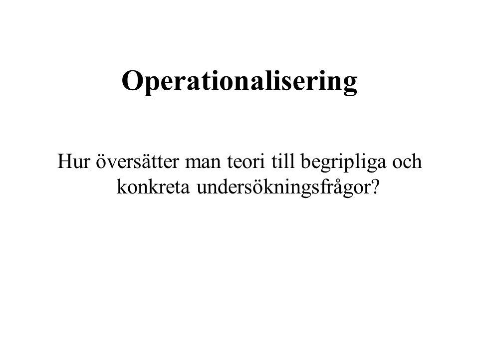 Operationalisering Hur översätter man teori till begripliga och konkreta undersökningsfrågor