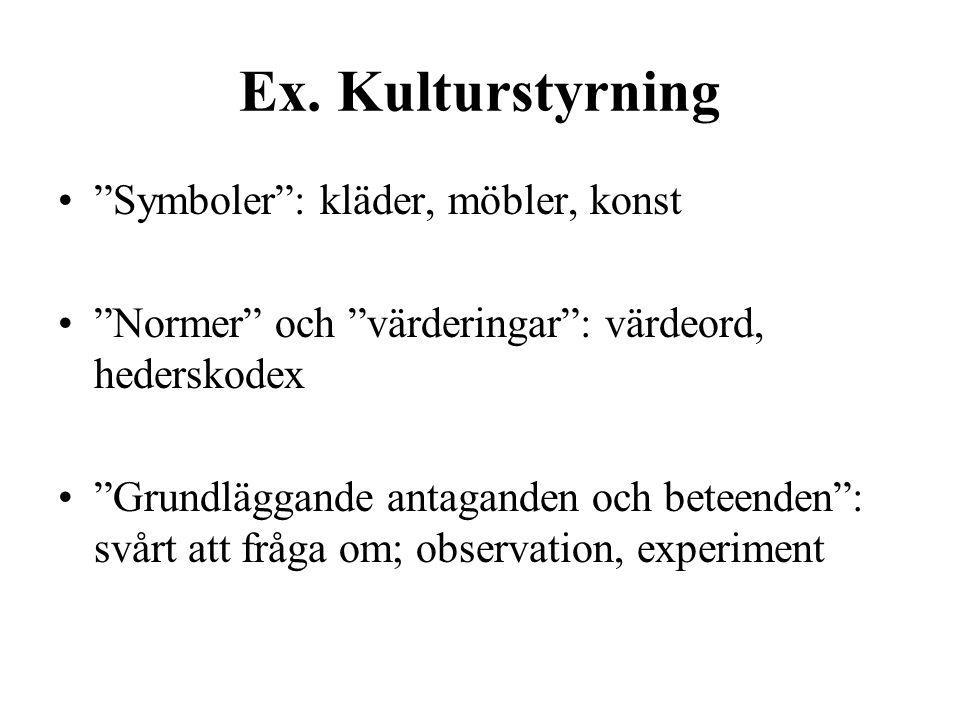 """Ex. Kulturstyrning """"Symboler"""": kläder, möbler, konst """"Normer"""" och """"värderingar"""": värdeord, hederskodex """"Grundläggande antaganden och beteenden"""": svårt"""
