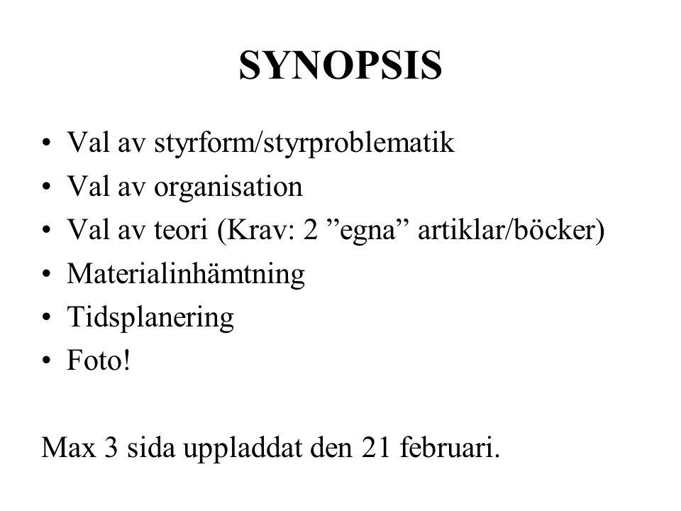 SYNOPSIS Val av styrform/styrproblematik Val av organisation Val av teori (Krav: 2 egna artiklar/böcker) Materialinhämtning Tidsplanering Foto.