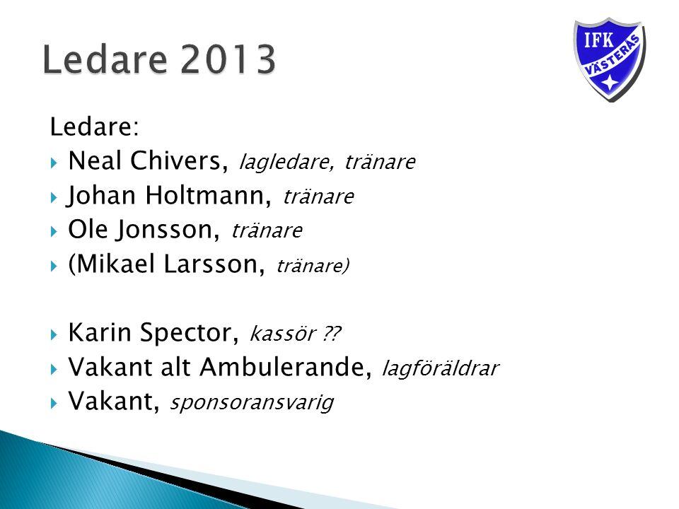 Ledare:  Neal Chivers, lagledare, tränare  Johan Holtmann, tränare  Ole Jonsson, tränare  (Mikael Larsson, tränare)  Karin Spector, kassör .