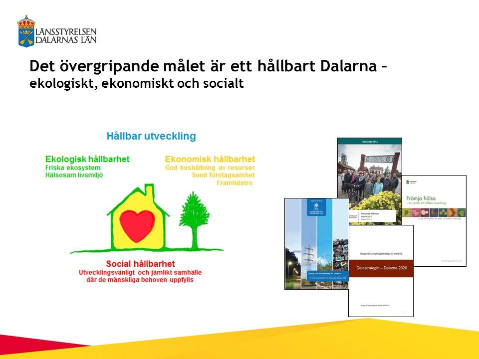 Det övergripande målet är ett hållbart Dalarna – ekologiskt, ekonomiskt och socialt
