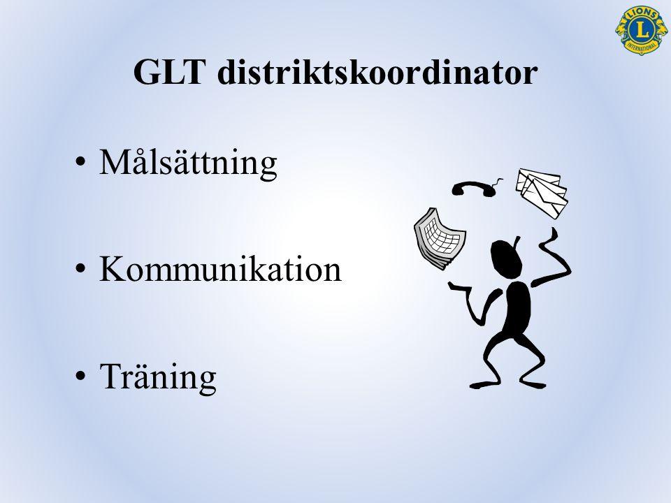 GLT distriktskoordinator Målsättning Kommunikation Träning