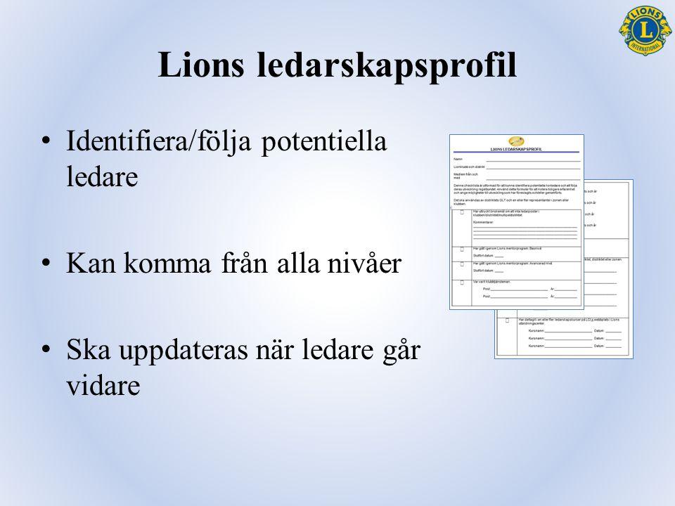 Lions ledarskapsprofil Identifiera/följa potentiella ledare Kan komma från alla nivåer Ska uppdateras när ledare går vidare