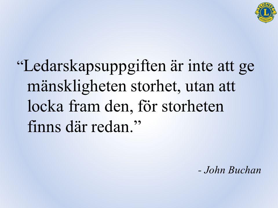 """"""" Ledarskapsuppgiften är inte att ge mänskligheten storhet, utan att locka fram den, för storheten finns där redan."""" - John Buchan"""