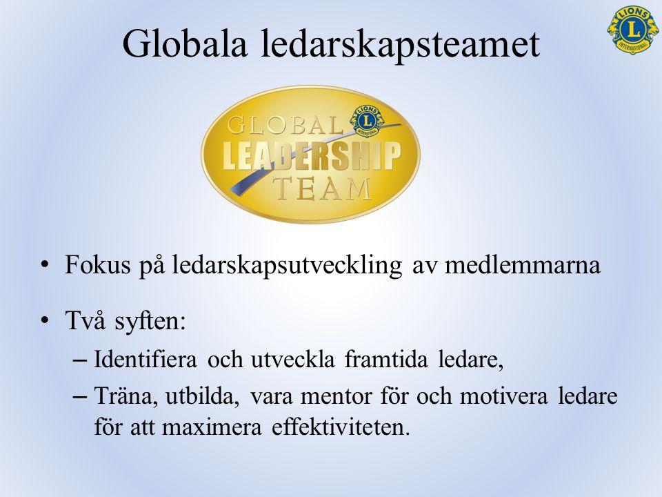 Globala ledarskapsteamet Fokus på ledarskapsutveckling av medlemmarna Två syften: – Identifiera och utveckla framtida ledare, – Träna, utbilda, vara m