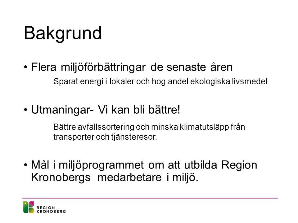 Syfte Ge kunskap om hur Region Kronoberg arbetar med miljö.