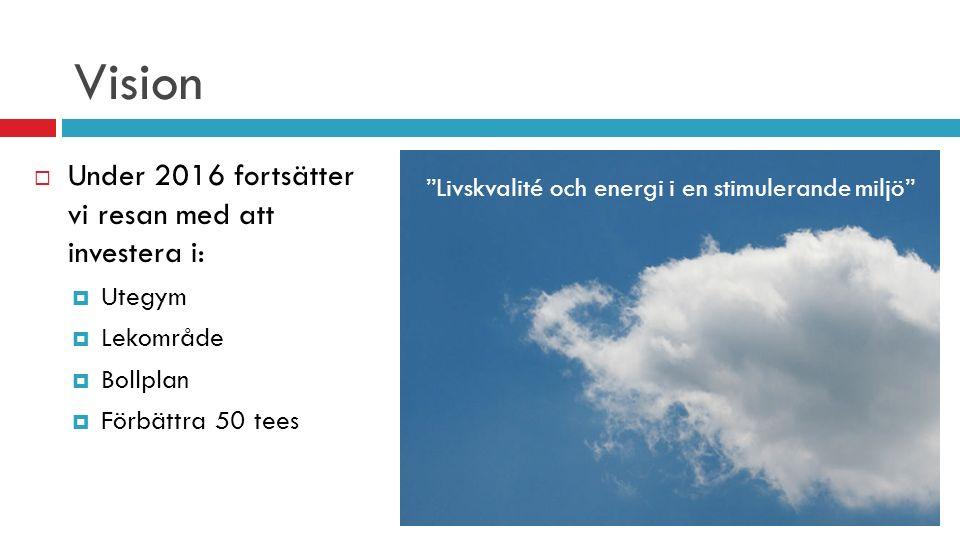 """Vision  Under 2016 fortsätter vi resan med att investera i:  Utegym  Lekområde  Bollplan  Förbättra 50 tees """"Livskvalité och energi i en stimuler"""