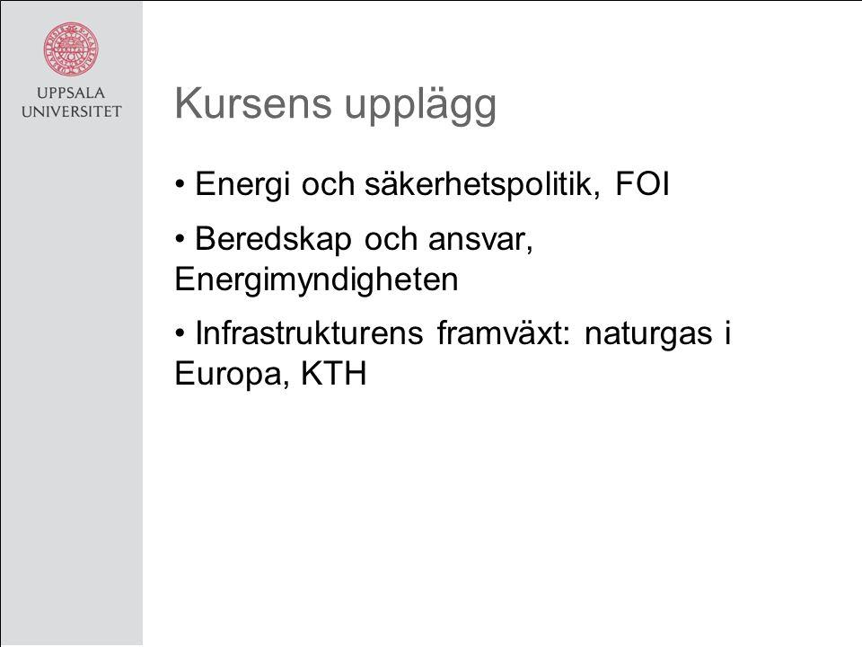 Kursens upplägg Energi och säkerhetspolitik, FOI Beredskap och ansvar, Energimyndigheten Infrastrukturens framväxt: naturgas i Europa, KTH