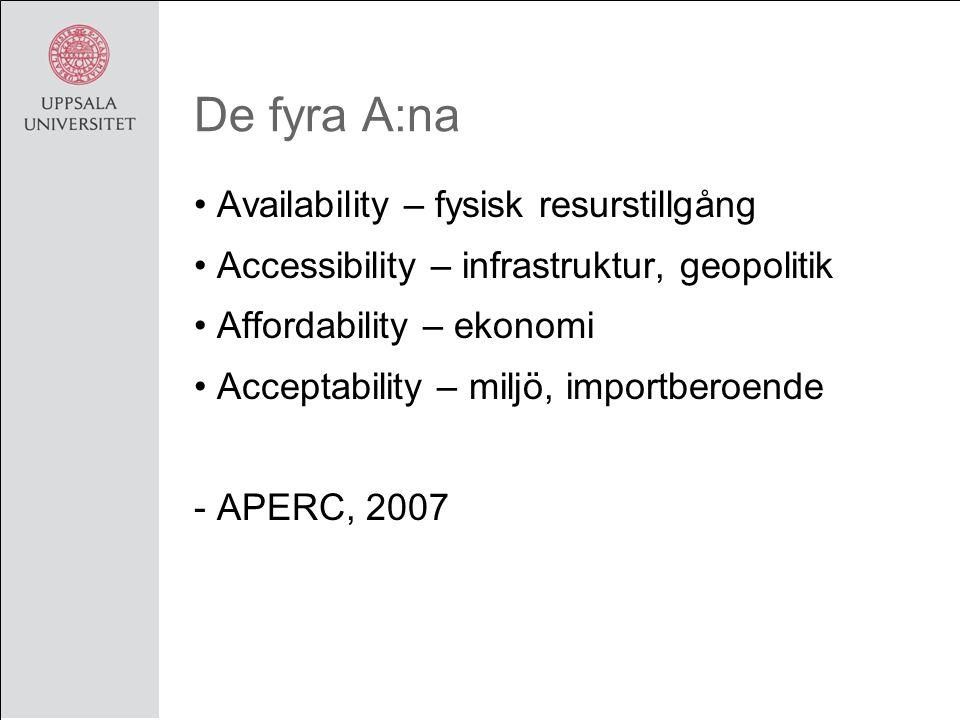 De fyra A:na Availability – fysisk resurstillgång Accessibility – infrastruktur, geopolitik Affordability – ekonomi Acceptability – miljö, importberoende - APERC, 2007