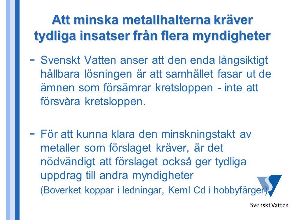 Att minska metallhalterna kräver tydliga insatser från flera myndigheter - Svenskt Vatten anser att den enda långsiktigt hållbara lösningen är att samhället fasar ut de ämnen som försämrar kretsloppen - inte att försvåra kretsloppen.