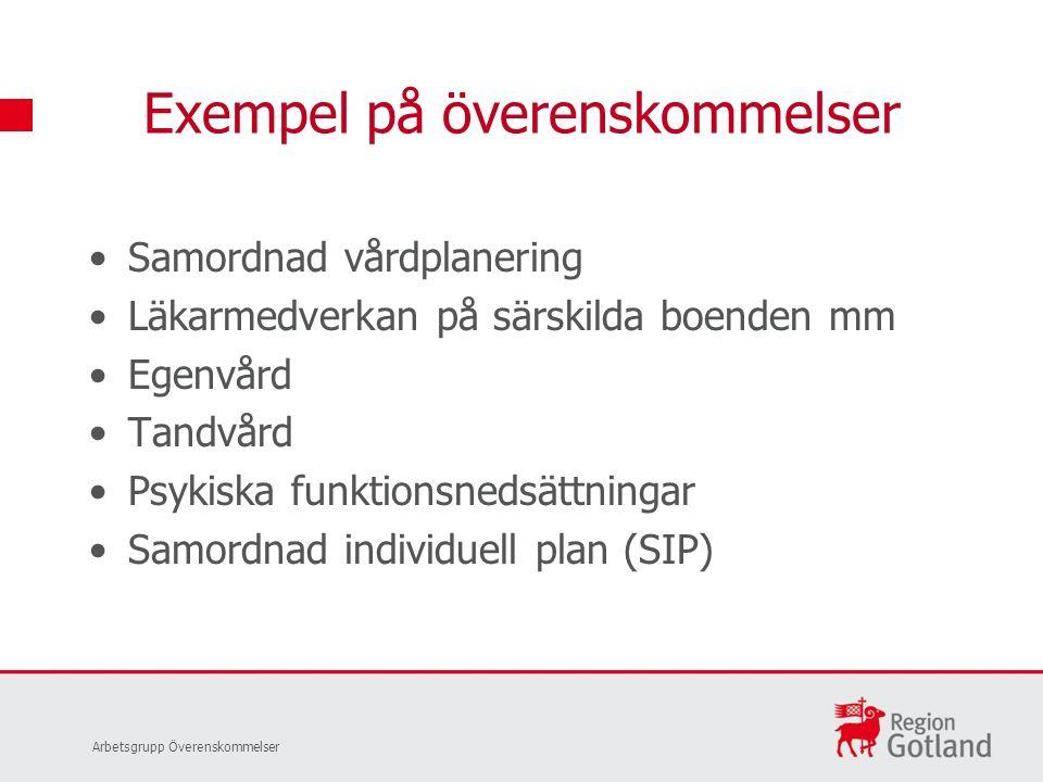 Samordnad vårdplanering Läkarmedverkan på särskilda boenden mm Egenvård Tandvård Psykiska funktionsnedsättningar Samordnad individuell plan (SIP) Exem