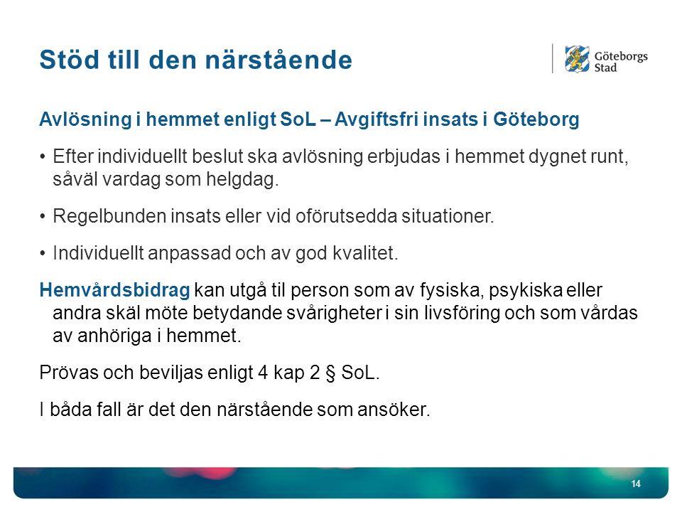 Stöd till den närstående 14 Avlösning i hemmet enligt SoL – Avgiftsfri insats i Göteborg Efter individuellt beslut ska avlösning erbjudas i hemmet dygnet runt, såväl vardag som helgdag.