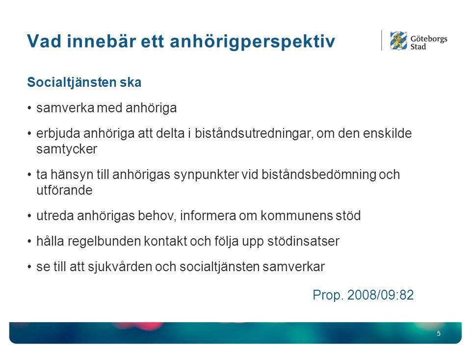 Vad innebär ett anhörigperspektiv 5 Socialtjänsten ska samverka med anhöriga erbjuda anhöriga att delta i biståndsutredningar, om den enskilde samtyck