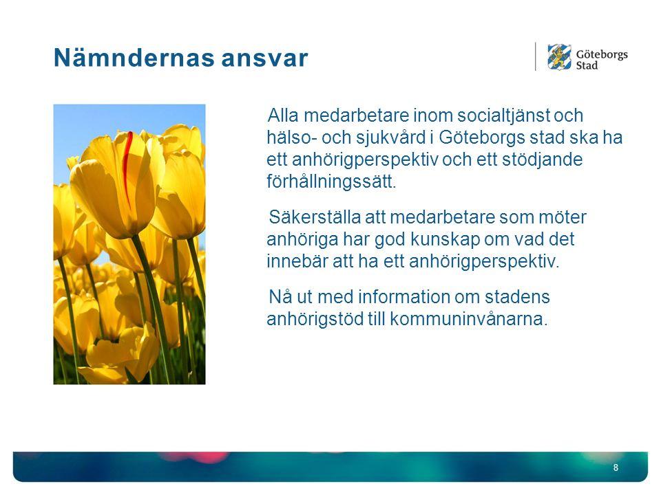 Nämndernas ansvar 8 Alla medarbetare inom socialtjänst och hälso- och sjukvård i Göteborgs stad ska ha ett anhörigperspektiv och ett stödjande förhållningssätt.