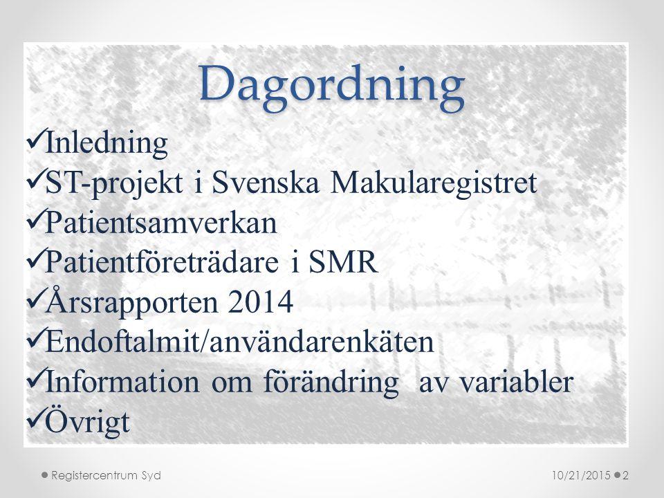 Dagordning 10/21/2015Registercentrum Syd2 Inledning ST-projekt i Svenska Makularegistret Patientsamverkan Patientföreträdare i SMR Årsrapporten 2014 Endoftalmit/användarenkäten Information om förändring av variabler Övrigt