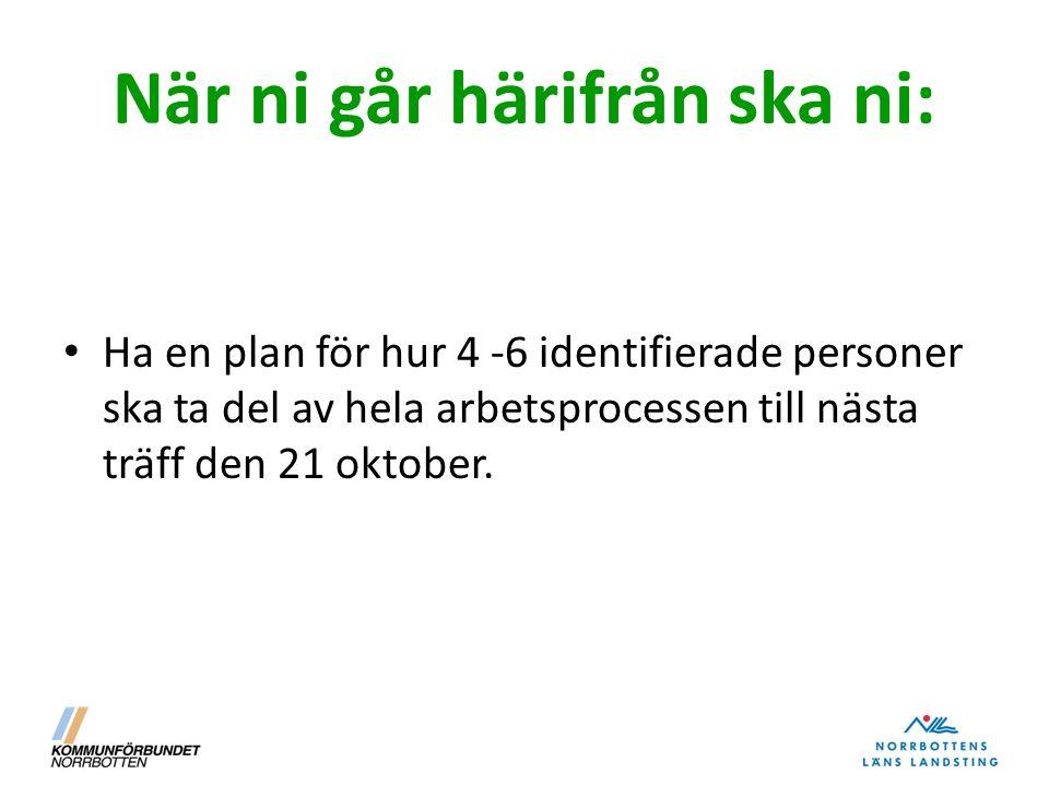 När ni går härifrån ska ni: Ha en plan för hur 4 -6 identifierade personer ska ta del av hela arbetsprocessen till nästa träff den 21 oktober.