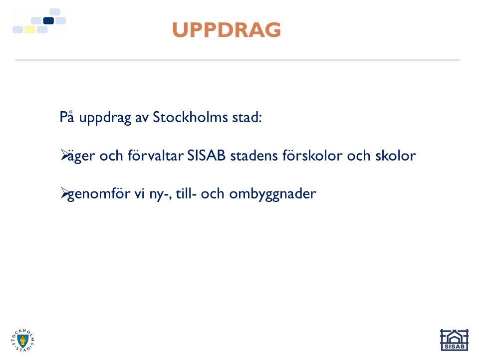 UPPDRAG På uppdrag av Stockholms stad:  äger och förvaltar SISAB stadens förskolor och skolor  genomför vi ny-, till- och ombyggnader