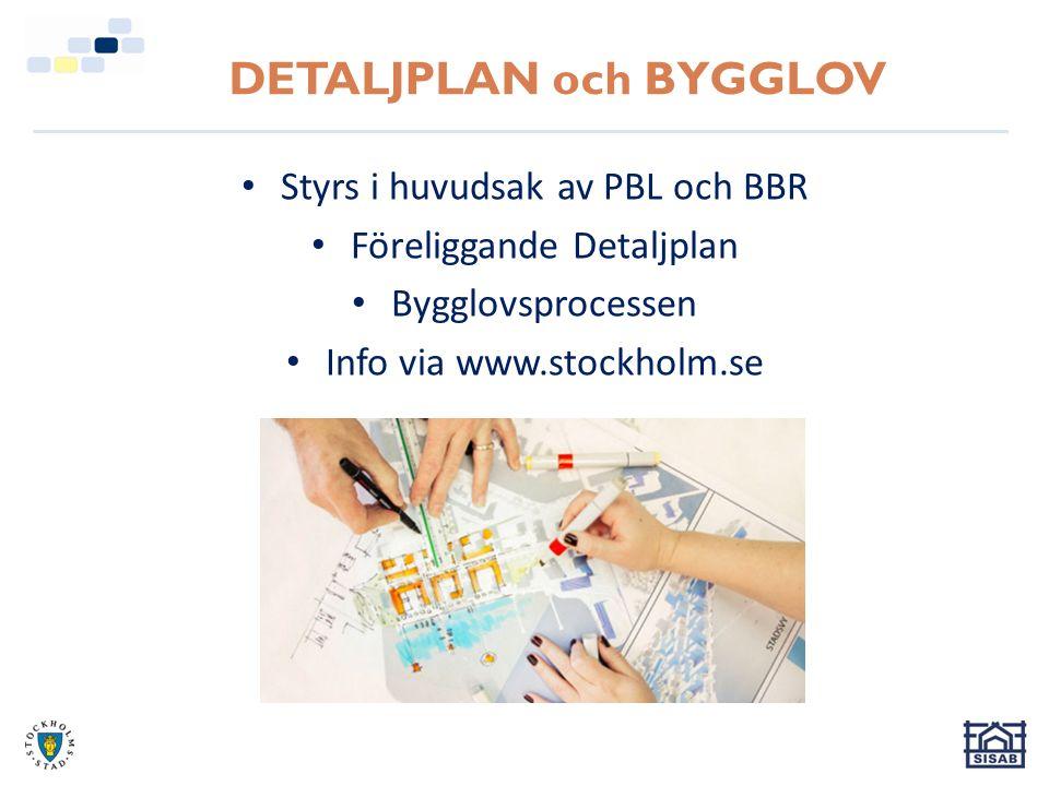 DETALJPLAN och BYGGLOV Styrs i huvudsak av PBL och BBR Föreliggande Detaljplan Bygglovsprocessen Info via www.stockholm.se