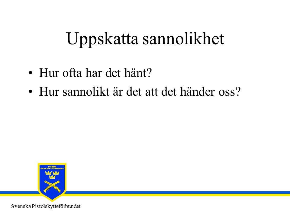 Svenska Pistolskytteförbundet Uppskatta sannolikhet Hur ofta har det hänt.