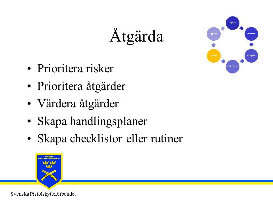 Svenska Pistolskytteförbundet Åtgärda Prioritera risker Prioritera åtgärder Värdera åtgärder Skapa handlingsplaner Skapa checklistor eller rutiner AvgränsaInventeraAnalyseraRiskvärderaÅtgärdaUppfölja