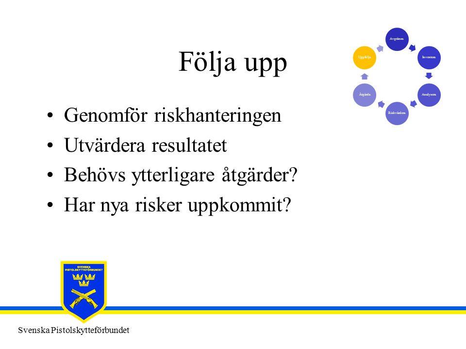 Svenska Pistolskytteförbundet Följa upp Genomför riskhanteringen Utvärdera resultatet Behövs ytterligare åtgärder.
