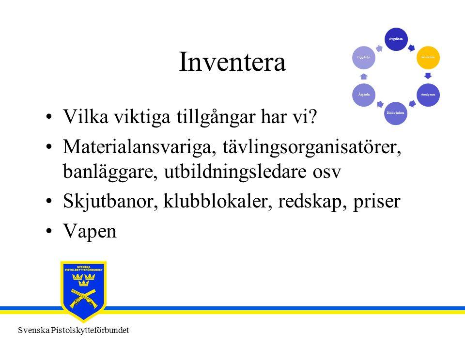 Svenska Pistolskytteförbundet Inventera Vilka viktiga tillgångar har vi.
