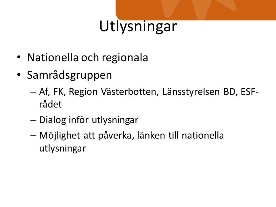 Utlysningar Nationella och regionala Samrådsgruppen – Af, FK, Region Västerbotten, Länsstyrelsen BD, ESF- rådet – Dialog inför utlysningar – Möjlighet att påverka, länken till nationella utlysningar