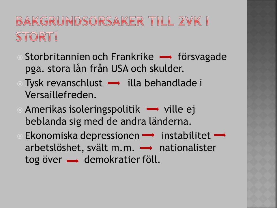 Inte bara Tyskland och USA led av den ekonomiska krisen: Befolkningen i många länder led av arbetslöshet och svält i och med den ekonomiska depressionen  Viljan till krig hos många länder var stor pga.