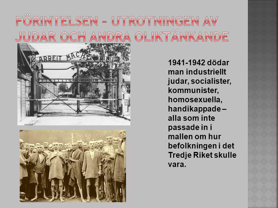 1941-1942 dödar man industriellt judar, socialister, kommunister, homosexuella, handikappade – alla som inte passade in i mallen om hur befolkningen i det Tredje Riket skulle vara.