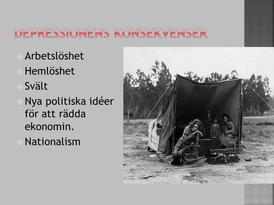  Arbetslöshet  Hemlöshet  Svält  Nya politiska idéer för att rädda ekonomin.  Nationalism