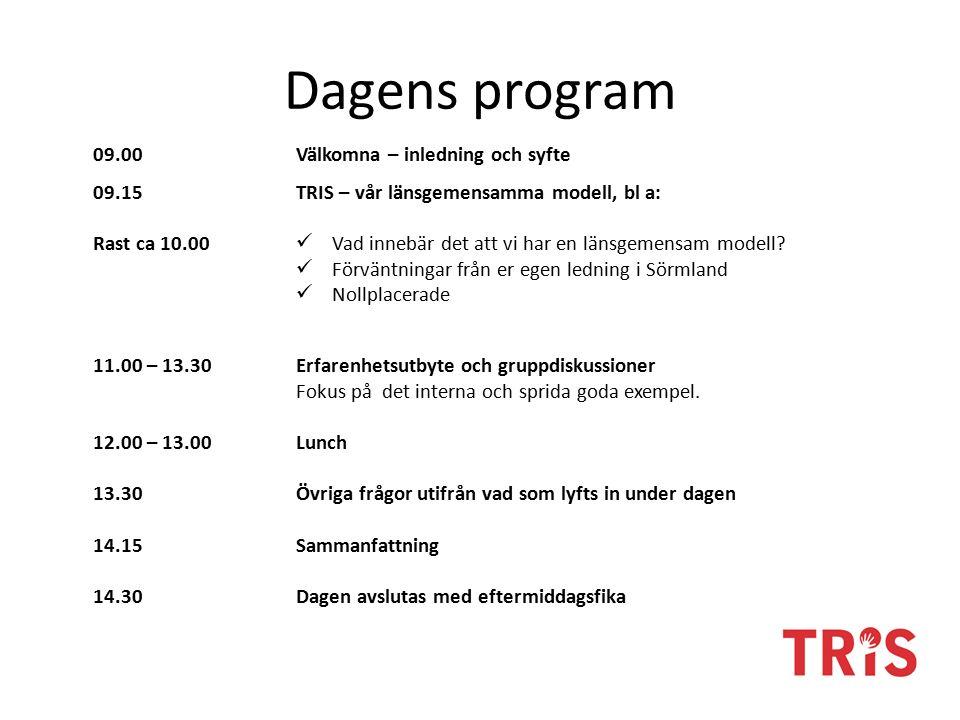 Dagens program 09.00Välkomna – inledning och syfte 09.15 Rast ca 10.00 TRIS – vår länsgemensamma modell, bl a: Vad innebär det att vi har en länsgemensam modell.