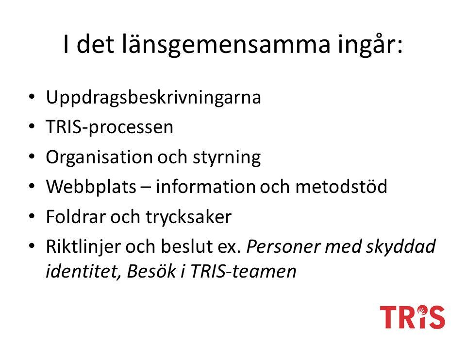 I det länsgemensamma ingår: Uppdragsbeskrivningarna TRIS-processen Organisation och styrning Webbplats – information och metodstöd Foldrar och trycksaker Riktlinjer och beslut ex.
