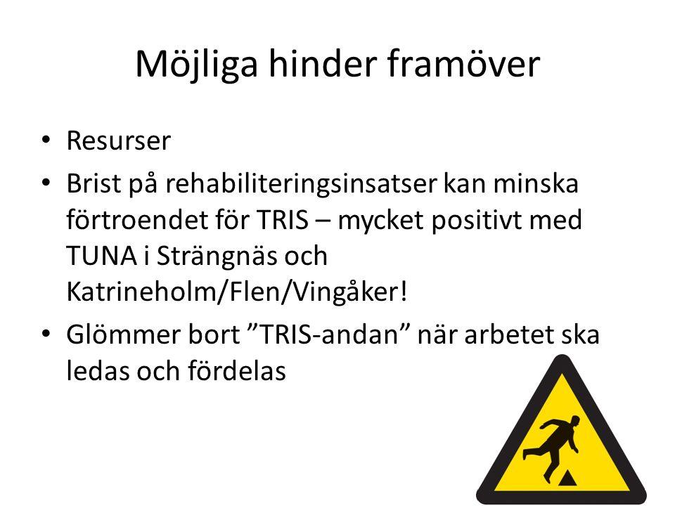 Möjliga hinder framöver Resurser Brist på rehabiliteringsinsatser kan minska förtroendet för TRIS – mycket positivt med TUNA i Strängnäs och Katrineholm/Flen/Vingåker.
