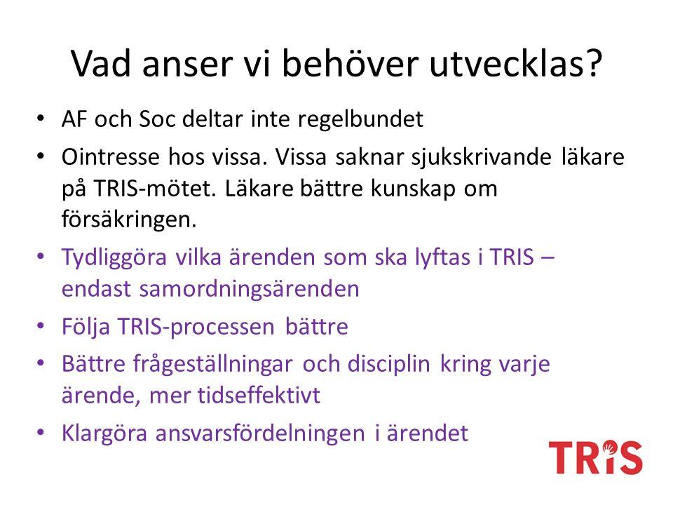 Utveckling och styrning Lyfta utvecklingsområden i TRIS-teamet på den egna vårdenheten och vid behov till den lokala styrgruppen.