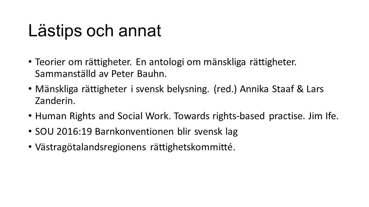 Lästips och annat Teorier om rättigheter. En antologi om mänskliga rättigheter.