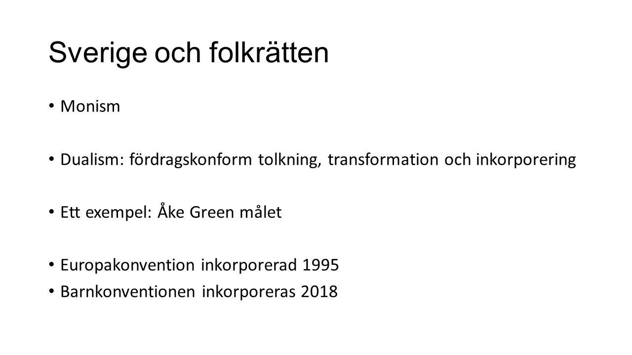 Sverige och folkrätten Monism Dualism: fördragskonform tolkning, transformation och inkorporering Ett exempel: Åke Green målet Europakonvention inkorporerad 1995 Barnkonventionen inkorporeras 2018