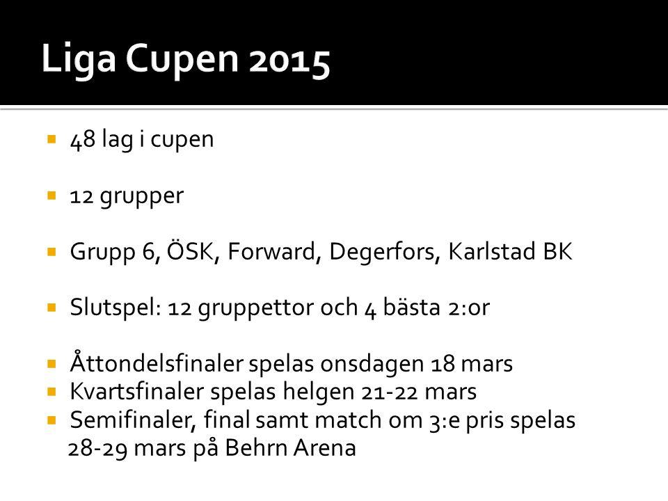  48 lag i cupen  12 grupper  Grupp 6, ÖSK, Forward, Degerfors, Karlstad BK  Slutspel: 12 gruppettor och 4 bästa 2:or  Åttondelsfinaler spelas onsdagen 18 mars  Kvartsfinaler spelas helgen 21-22 mars  Semifinaler, final samt match om 3:e pris spelas 28-29 mars på Behrn Arena
