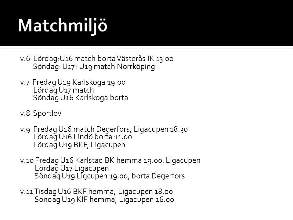 v.6 Lördag:U16 match borta Västerås IK 13.00 Söndag: U17+U19 match Norrköping v.7 Fredag U19 Karlskoga 19.00 Lördag U17 match Söndag U16 Karlskoga borta v.8 Sportlov v.9 Fredag U16 match Degerfors, Ligacupen 18.30 Lördag U16 Lindö borta 11.00 Lördag U19 BKF, Ligacupen v.10 Fredag U16 Karlstad BK hemma 19.00, Ligacupen Lördag U17 Ligacupen Söndag U19 Ligcupen 19.00, borta Degerfors v.11 Tisdag U16 BKF hemma, Ligacupen 18.00 Söndag U19 KIF hemma, Ligacupen 16.00