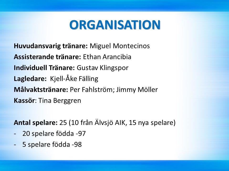 ORGANISATION Huvudansvarig tränare: Miguel Montecinos Assisterande tränare: Ethan Arancibia Individuell Tränare: Gustav Klingspor Lagledare: Kjell-Åke Fälling Målvaktstränare: Per Fahlström; Jimmy Möller Kassör: Tina Berggren Antal spelare: 25 (10 från Älvsjö AIK, 15 nya spelare) -20 spelare födda -97 -5 spelare födda -98