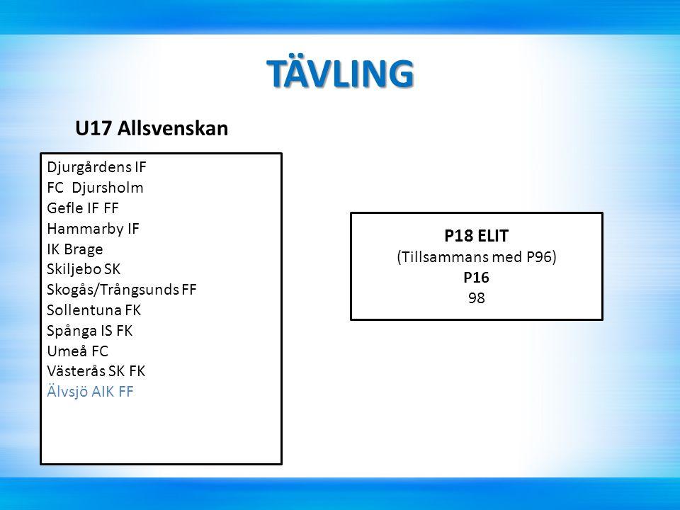 TÄVLING U17 Allsvenskan Djurgårdens IF FC Djursholm Gefle IF FF Hammarby IF IK Brage Skiljebo SK Skogås/Trångsunds FF Sollentuna FK Spånga IS FK Umeå