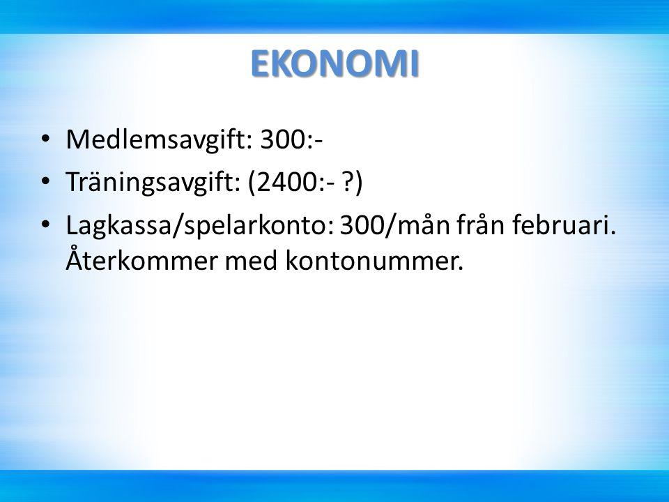 EKONOMI Medlemsavgift: 300:- Träningsavgift: (2400:- ?) Lagkassa/spelarkonto: 300/mån från februari. Återkommer med kontonummer.