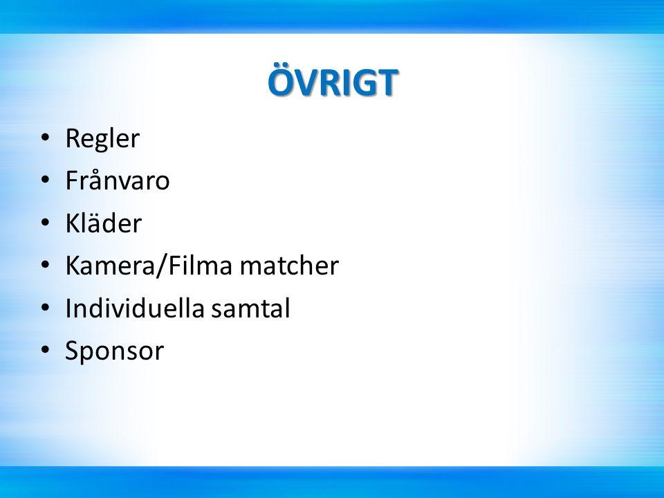 ÖVRIGT Regler Frånvaro Kläder Kamera/Filma matcher Individuella samtal Sponsor