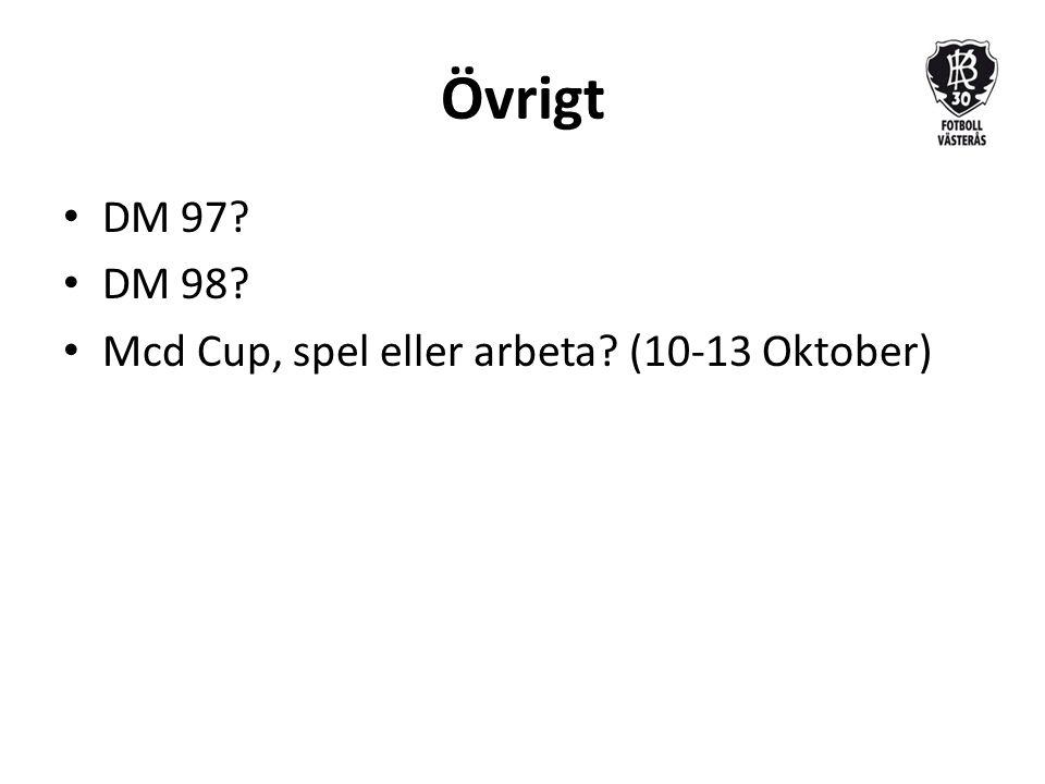 Övrigt DM 97 DM 98 Mcd Cup, spel eller arbeta (10-13 Oktober)