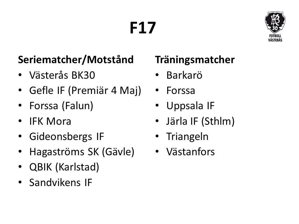 F17 Seriematcher/Motstånd Västerås BK30 Gefle IF (Premiär 4 Maj) Forssa (Falun) IFK Mora Gideonsbergs IF Hagaströms SK (Gävle) QBIK (Karlstad) Sandvikens IF Träningsmatcher Barkarö Forssa Uppsala IF Järla IF (Sthlm) Triangeln Västanfors