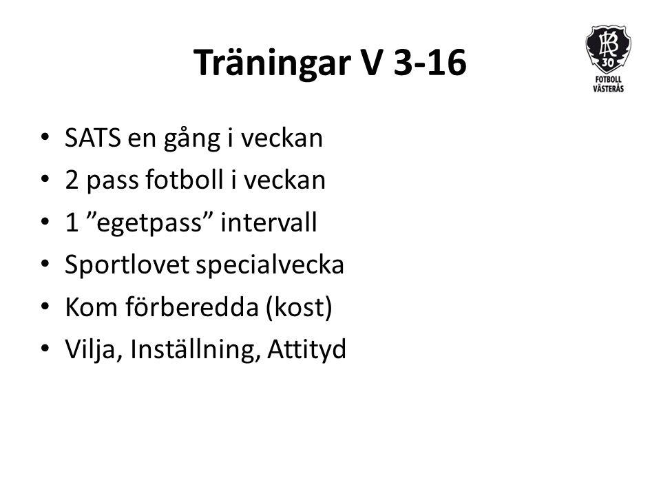 Träningar V 3-16 SATS en gång i veckan 2 pass fotboll i veckan 1 egetpass intervall Sportlovet specialvecka Kom förberedda (kost) Vilja, Inställning, Attityd
