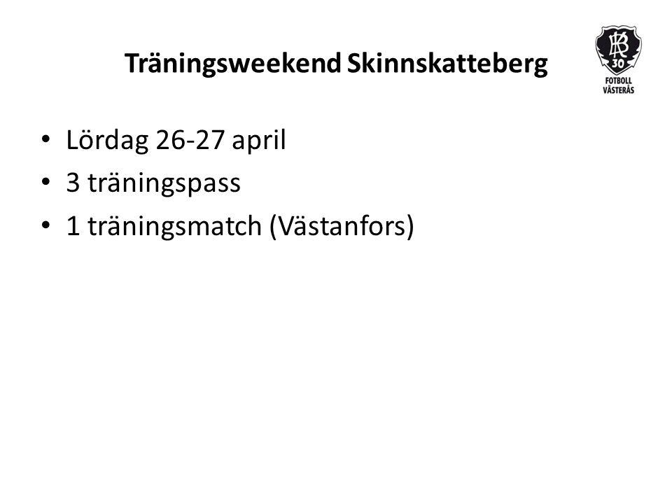 Träningsweekend Skinnskatteberg Lördag 26-27 april 3 träningspass 1 träningsmatch (Västanfors)